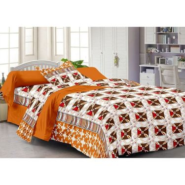Set of 3 Cotton Single Bedsheet With 3 Pillow Cover-SP_1211_1212_1214