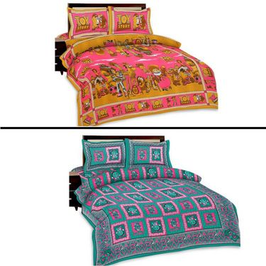 Set of 2 Kids Double Bed Sheets with 4 Pillow Covers-SRA2DB-6