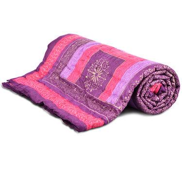 Set of 2 Jaipuri Cotton Razai with Gold Prints - Pink or Orange or Lavender