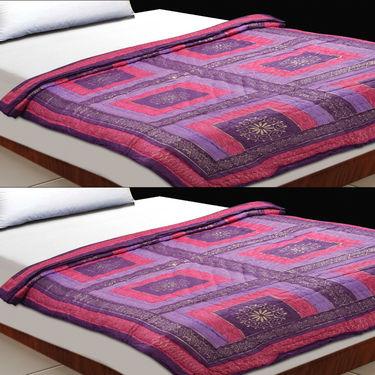Set of 2 Lavender Jaipuri Cotton Razai with Gold Prints
