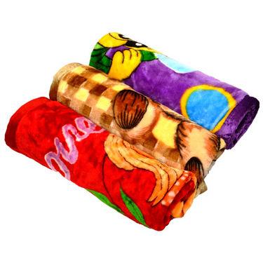 Set of 3 Baby Mink Blankets - Multicolor