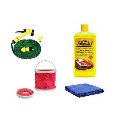 Formula 1 Wash&wax Shampoo-473ml With Water Gun, Abro Microfiber Cloth And Foldable Bucket- Shampoo-2