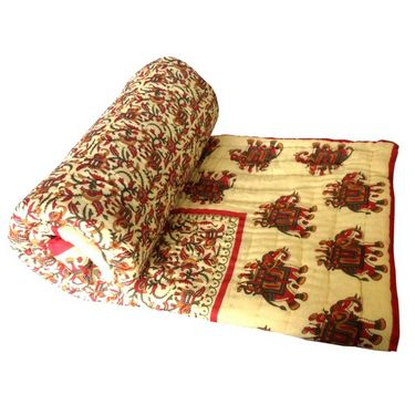 Multicolor Reversible Elephant Print Cotton Single Bed AC Quilt-SRM2095