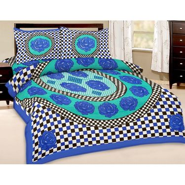 Shop Rajasthan Jaipuri print double bed sheet with Two Pillow Covers-SRA2829