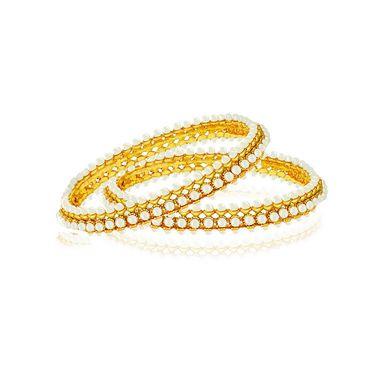 Spargz Triple Line Pearl Studded Bangle - White _AIB035