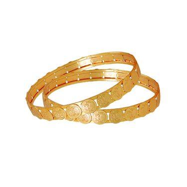 Spargz Antique Round Temple Bangle - Golden _MCB01