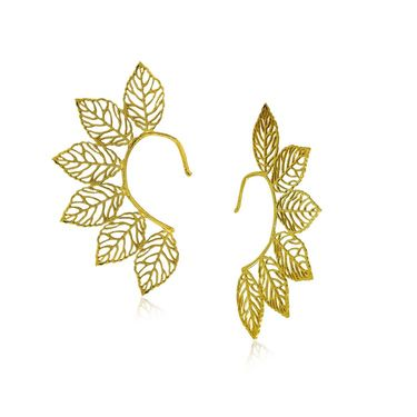 Spargz Leaf Design Earrings Cuff - Golden _AIER427