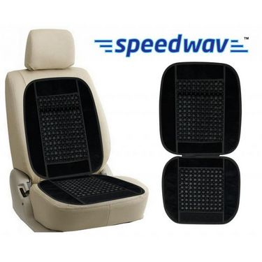 Speedwav Car Wooden Bead Seat Cushion with Black Velvet Border