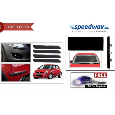 Speedwav Car Bumper Guards + Front Roller Sunshades + Free Keychain