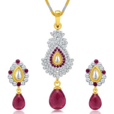 Sukkhi Divine Gold & Rhodium Plated Pendant Set - White & Golden - 4077PSKDV1250