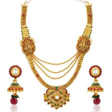 Sukkhi Astonishing Gold Plated Necklace Set - Golden - 2107NGLDPL8500