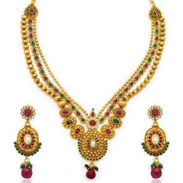 Sukkhi Fancy Gold Plated Necklace Set - Golden - 2121NGLDPV3500