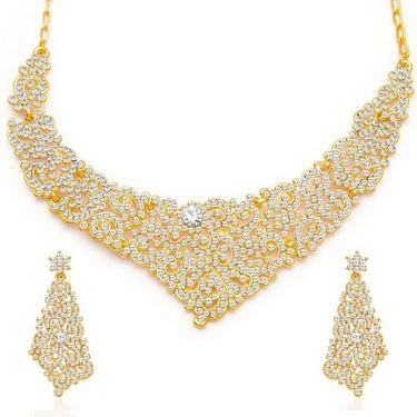 Sukkhi Alluring Gold Plated Necklace Set - Golden - 2124NADL1500