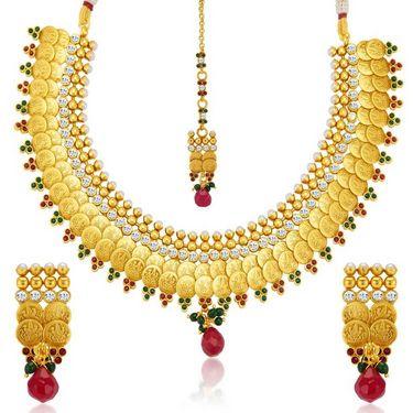 Sukkhi Stylish & Designer Gold Plated Necklace Set - Golden - 2149NGLDPL4400