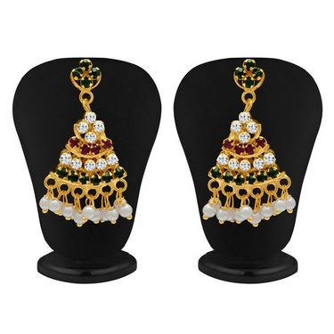 Sukkhi Ritzzy Gold Plated Necklace Set - Maroon, Green & White - 1009N-LC-MRN-GRN-WT-2000