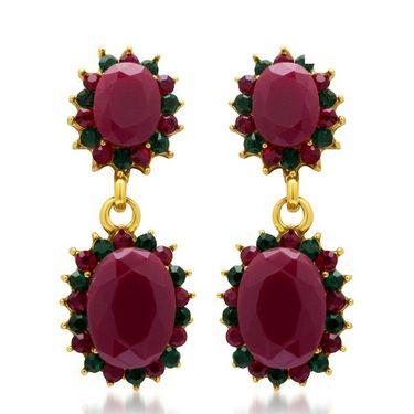 Sukkhi Gracefull Gold Plated Earrings - Maroon & Green - 6037ECHV250