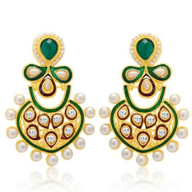 Sukkhi Charming Gold Plated Earrings - Golden - 6063EGLDPM500