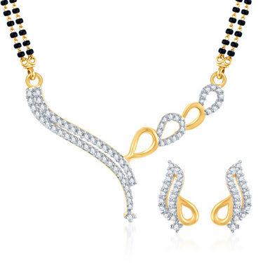 Sukkhi Gold Finished Mangalsutra Set - White & Golden - 128M1250