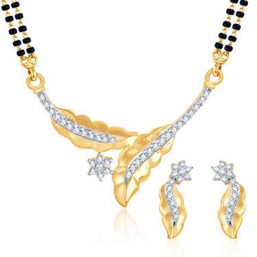 Sukkhi Gold Finished Mangalsutra Set - White & Golden - 132M900
