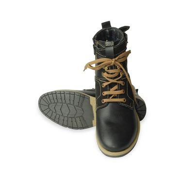 Faux Leather Black Boots -T05