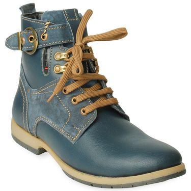 Faux Leather Blue Boots -T06