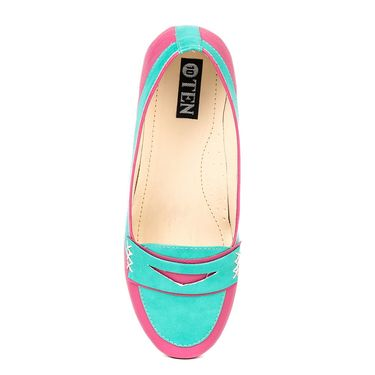 Ten Synthetic Leather Pink & Turquoise Loafers -ts298