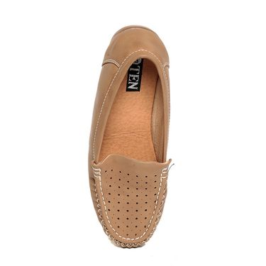 Beige Colored Synthetic Leather Loafers-lfpncbeg04