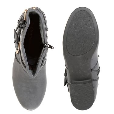Leather Grey Boots For Womens -tb20