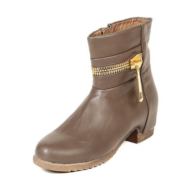 Leather Khaki Boots For Womens -tb26