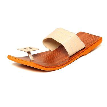 Ten Tan Synthetic Leather Slippers -mtj06