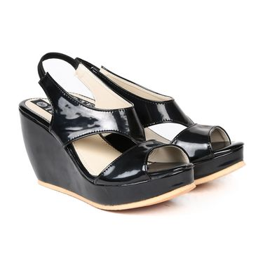 Ten Patent Leather Black Wedges-ts223