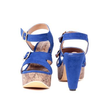 Ten Suede Leather 097 Women's Wedges and Platforms - Blue