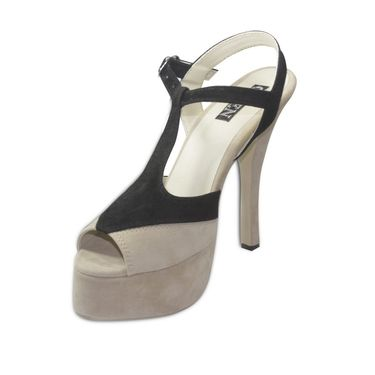Ten Suede Beige & Black Stilettos -ts25