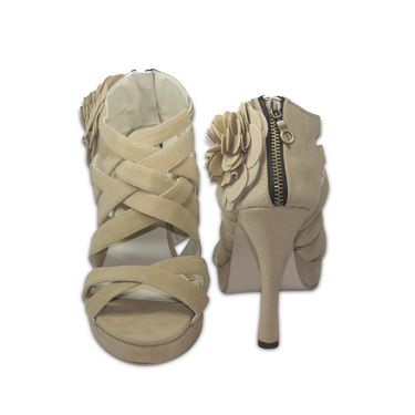 Ten Suede Leather Beige Stilettos -ts36