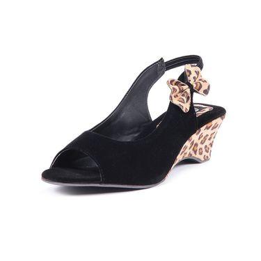 Ten Suede Black Sandals -ts208