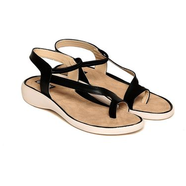 Leather Black Sandals -546Blk03