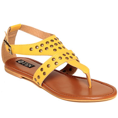 Patent Leather Yellow Sandals -13Ylw01