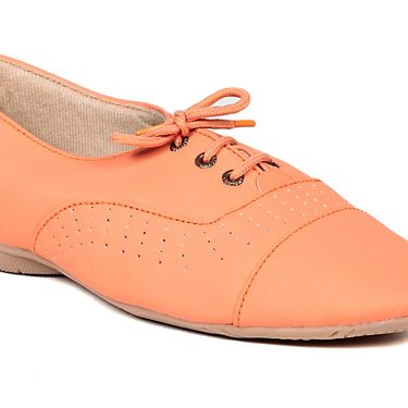 Ten Synthetic Leather Orange Womes Sports Shoes -ts318
