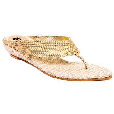 Ten Jute Gold Flats & Slippers -ts200