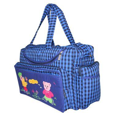 Tumble Check Print Baby Diaper Bag ? Blue