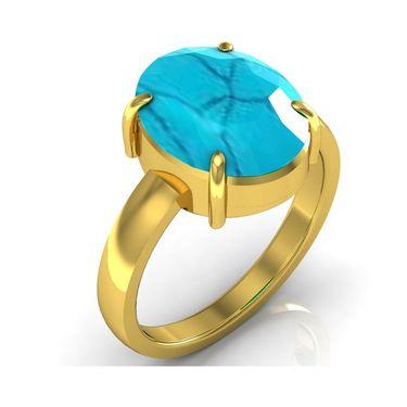 Kiara Jewellery Certified Turquoise 3.0 cts & 3.25 Ratti Turquoise Ring_Tqry