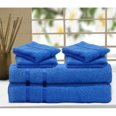 Story@Home 6 Pcs Premium Towel Combo 100% Cotton-Blue-TW1204_2X-2M