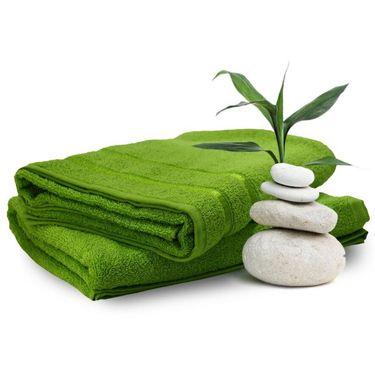 Set of 2 Storyathome Green Cotton Womens Bath Towel-TW_2-1203-L