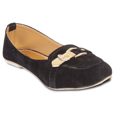 Ten Suede Leather Loafers For Women_tenbl072 - Black