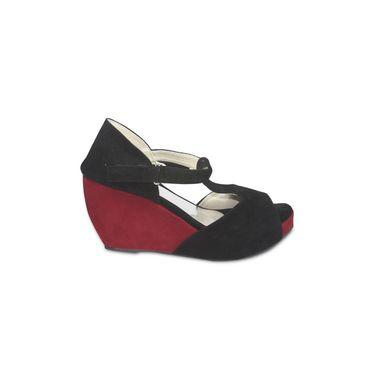 Ten Suede Leather Heels Sandals For Women_tenbl105 - Black