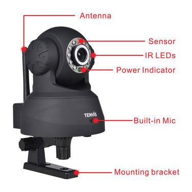 Tenvis TR3818 - P2P IP Wireless Pan/Tilt IR LED Security Camera with Night Vision - Black