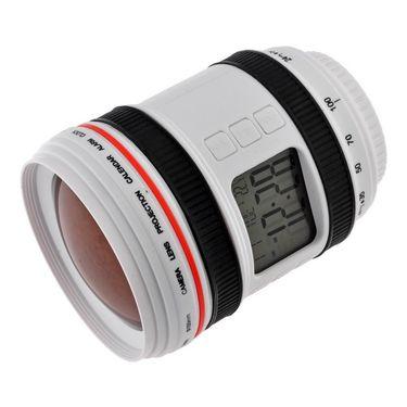 Camera Lens projector with Calendar Alarm Clock Night Lamp-White-ULCALDALCL-W