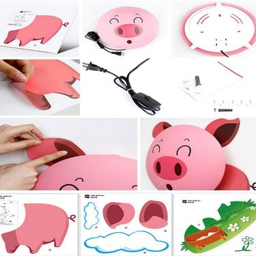 3D Cartoon Pig Style Wall Stickers Night Lamp -ULWLS-PIG