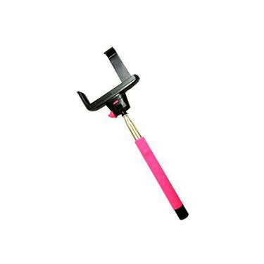 Vibrandz Selfie Stick Wireless Handheld With Inbuilt Click Button - Pink
