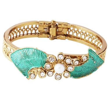 Variation Green Enamel Pearl Traditional Openable Gold Plated Bangle_Vd11311